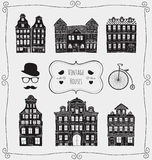 Vector Vintage Old Styled Houses Black Shapes Stock Photos
