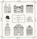 Vector Vintage Old Styled Houses. Vintage Old Styled Hand Drawn Doodle Houses Icon Set. Vector Illustration stock illustration