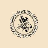 Vector vintage olive logo. Retro emblem with branch. Hand sketched natural extra virgin oil production sign. stock illustration