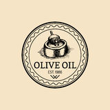 Vector vintage olive logo. Retro emblem with rural extra virgin oil press. Hand sketched farm production sign. Vector vintage olive logo. Retro emblem with Stock Photography