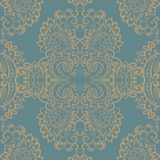 Vector vintage ornament Oriental motif style. Ornate element for design, wedding invitations, greeting cards, fabrics, wallpaper, texture. Blue and gold color Stock Image