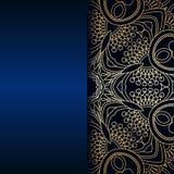 Vector vintage ornamental background. Vector vintage floral decorative background for design invitation card, booklet, print. Gold and blue Royalty Free Stock Images