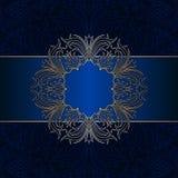 Vector vintage ornamental background. Vector vintage floral decorative background for design invitation card, booklet, print. Gold and blue Royalty Free Stock Photo