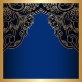 Vector vintage ornamental background. Vector vintage floral decorative background for design invitation card, booklet, print. Gold and blue Stock Images