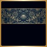 Vector vintage ornamental background. Vector vintage floral decorative ornaments for design invitation card, booklet, print. Gold and blue Stock Image