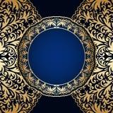 Vector vintage ornamental background. Vector vintage floral decorative ornaments for design invitation card, booklet, print. Gold and blue Royalty Free Stock Images