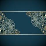 Vector vintage ornamental background. Vector vintage floral decorative background for design invitation card, booklet, print. Gold and blue Stock Photos