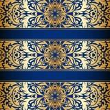 Vector vintage ornamental background. Vector vintage floral decorative background for design invitation card, booklet, print. Gold and blue Royalty Free Stock Image