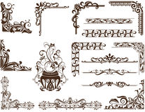 Vector vintage Ornamental frames and corners. Vintage frames, corners, borders  with delicate swirls in Art Nouveau for decoration and design works with floral Stock Photography