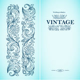 Vector vintage ornamental template with pattern and decorative frame. Flowers, twigs buds and leaves in retro style. Ink and pen. Royalty Free Stock Images