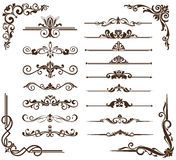Vector vintage ornaments, corners, borders. Vintage frames, corners, borders  with delicate swirls in Art Nouveau for decoration and design works with floral Royalty Free Stock Photo