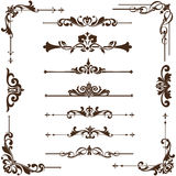 Vector vintage ornaments, corners, borders. Vintage frames, corners, borders  with delicate swirls in Art Nouveau for decoration and design works with floral Stock Photo