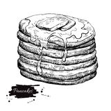 Vector vintage pancake drawing. Hand drawn monochrome food illus Royalty Free Stock Photos