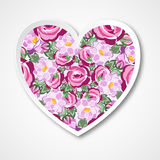 Vector vintage paper Heart with roses for wedding, marriage, birthday Royalty Free Stock Photo
