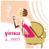 Vector vintage party flapper girl with sigaret. Retro Flapper girl on vintage party with sigaret in room.Vector illustration background Royalty Free Stock Image