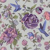 Vector vintage pattern with roses and peonies. Retro floral wallpaper, colorful backdrop Stock Images