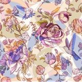 Vector vintage pattern with roses and peonies. Retro floral wallpaper, colorful backdrop Stock Photography