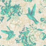 Vector vintage pattern with roses and peonies. Retro floral wallpaper, colorful backdrop Royalty Free Stock Photo