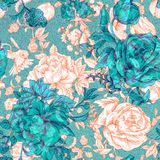 Vector vintage pattern with roses and peonies. Retro floral wallpaper, colorful backdrop Stock Image