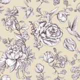 Vector vintage pattern with roses and peonies. Retro floral wallpaper, monochrome backdrop Stock Image