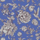 Vector vintage pattern with roses and peonies. Retro floral wallpaper, monochrome backdrop Stock Images