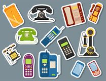 Vector vintage phones retro lod telephone call number connection device technology telephonic illustration Stock Photos