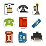 Vector vintage phones retro lod telephone call number connection device technology telephonic illustration. Vector vintage phones retro lod telephone call number Royalty Free Stock Images