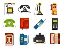 Vector vintage phones retro lod telephone. Vector vintage phones retro lod telephone call number connection device technology receiver classic communication Stock Photos