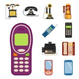 Vector vintage phones retro lod telephone. Vector vintage phones retro lod telephone call number connection device technology receiver classic communication Stock Photography