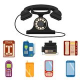 Vector vintage phones retro lod telephone call number connection device technology telephonic illustration Stock Photography