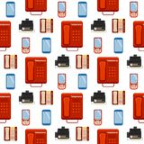 Vector vintage phones retro lod telephone seamless pattern background connection device technology telephonic Stock Photography