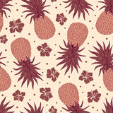 Vector Vintage pineapple seamless pattern Stock Photography