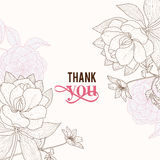 Vector Vintage Pink Brown Frame Floral Drawing Wedding Invitation Thank You Card  Royalty Free Stock Photography