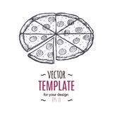 Vector vintage pizza drawing. Hand drawn monochrome fast food illustration. Stock Images