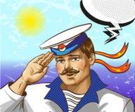 Vector vintage pop art illustration of sailor saluting Stock Images