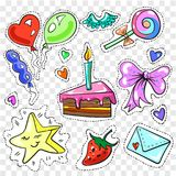Vector vintage fashion patches and stickers for girls. Vector vintage pop art patches, stickers set with slice of cake with candle, bow, balloons, candies Stock Photo