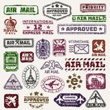 Vector vintage postage mail stamps retro delivery badge plane, train transport stickers collection grunge stamps print. Postmark design correspondence sign Royalty Free Stock Photo