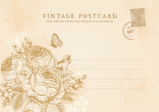 Vector vintage postcard in Victorian style. Royalty Free Stock Photos