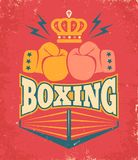 Vintage poster for a boxing Royalty Free Stock Photo