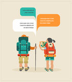 Vector vintage poster with couple of backpackers Stock Photo
