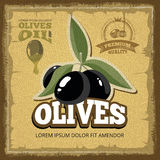 Vector vintage poster of premium quality Olives with leaf. Royalty Free Stock Image