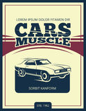 Vector vintage poster with retro car 70s. Muscle car banner illustration stock illustration