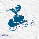 Vector vintage raven. Design element for t-shirt print, hallowee Royalty Free Stock Photo