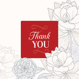 Vector Vintage Red Black Frame Floral Drawing Wedding Thank You Card  Stock Photos