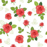 Vector vintage red roses and green leaves on white background seamless repeat pattern. Great for retro fabric, wallpaper Royalty Free Stock Image