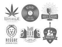 Vector vintage reggae logos. Royalty Free Stock Photo