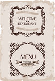 Vector vintage restaurant retro frame paper vector illustration