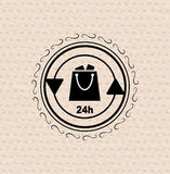 Vector vintage retro badge shopping bag Stock Photos
