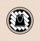 Vector vintage retro badge shopping bag Stock Photography