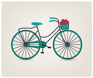 Vector vintage retro bicycle silhouette, icon royalty free illustration
